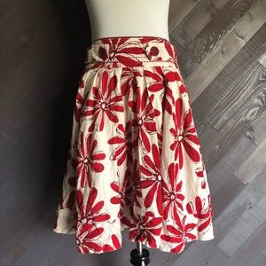 Forever 21 Red Floral A-Line Skirt